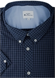 BEN SHERMAN GINGHAM S/S SHIRT-new arrivals-BIGMENSCLOTHING.CO.NZ
